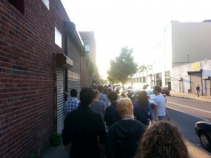 The long line for Punderdome. We arrived 30 minutes early and still didn't get seats.