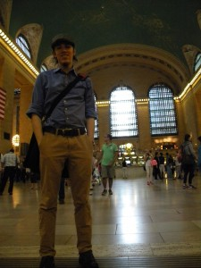 Erty at Grand Central Station with his new Newsies hat.